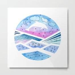 Abstract Seascape with Dolphin Metal Print