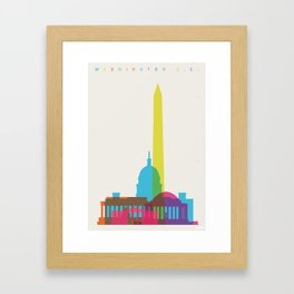 Shapes of Washington D.C. Accurate to scale Framed Art Print