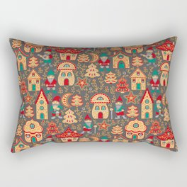 Fairy gnomes and magic houses.  Christmas trees, months and stars. Pattern in folk style. Rectangular Pillow