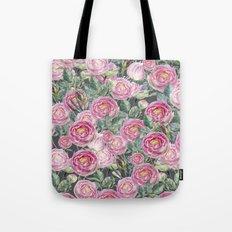 Vintage Roses Grey Tote Bag