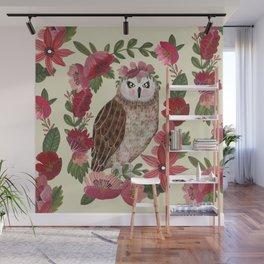 Floral Owl Wall Mural