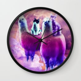 Kitty Cat Riding On Rainbow Llama In Space Wall Clock