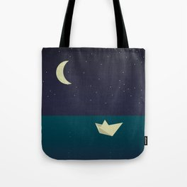paper boat in the moonlight Tote Bag
