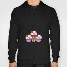 Cute Monster With Pink And Purple Polkadot Cupcakes Hoody