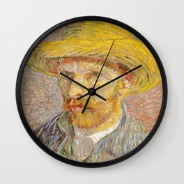 Vincent van Gogh - Self-Portrait with a Straw Hat - The Potato Peeler Wall Clock