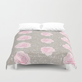 Watercolor roses on Taupe with French script Duvet Cover
