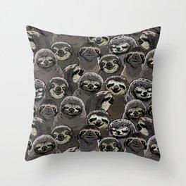 Social Sloths Throw Pillow