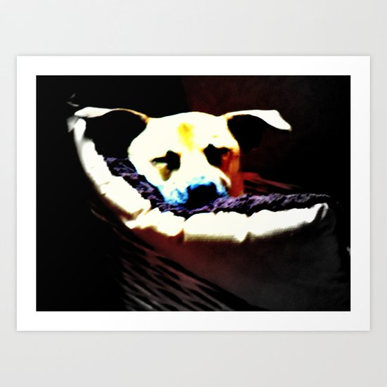 sleeping puppy stuck in basket Art Print