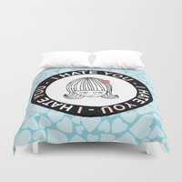 sticker Duvet Covers featuring I Hate You / Sticker by Etiquette