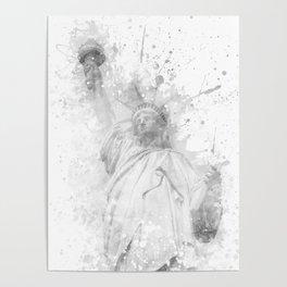 Modern Art STATUE OF LIBERTY   watercolor monochrome Poster
