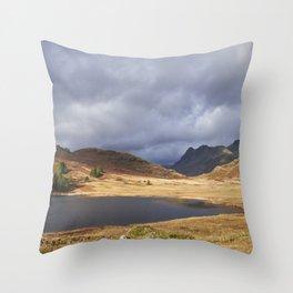 Blea Tarn with Langdale Pikes beyond. Cumbria, UK. Throw Pillow