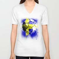 sweden V-neck T-shirts featuring football Sweden  by seb mcnulty
