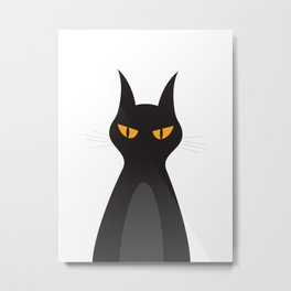 Halloween Vampire Cat Portrait Metal Print