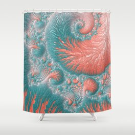 Abstract Coral Reef Living Coral Pastel Teal Blue Texture Spiral Swirl Pattern Fractal Fine Art Shower Curtain