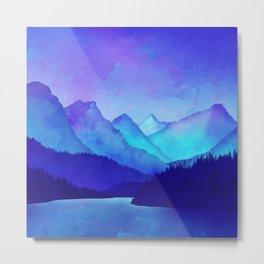Cerulean Blue Mountains 1:1 Metal Print