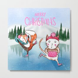 Merry Christmas from Cat and Fox Metal Print