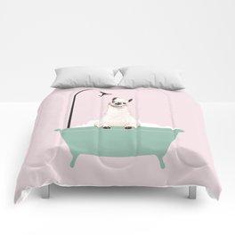 Llama Enjoying Bubble Bath Comforters