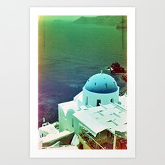 Blue Dome Church, Santorini: Shot with a Nikon FM2 and Revolog 600nm film Art Print