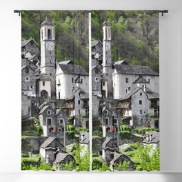 Switzerland Photography - Medieval Town In Corippo Blackout Curtain