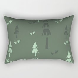 Green Forest Trees Rectangular Pillow