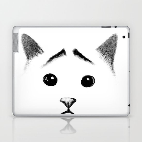 Cat with eyebrows Laptop & iPad Skin