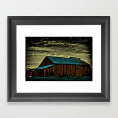 A Large Stack of Small Red Doors Framed Art Print