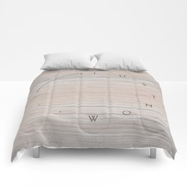 'Just now…' in faded wood Comforters