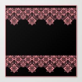 Retro .Vintage . Pink lace on a black background . Canvas Print