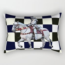 Knight on white horse with Chess board Rectangular Pillow