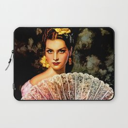 Jesus Helguera Painting of Spanish Beauty with Lacey Fan Laptop Sleeve