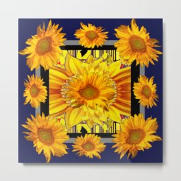 BLUE-GOLDEN COLOR YELLOW SUNFLOWERS  MODERN ABSTRACT Metal Print