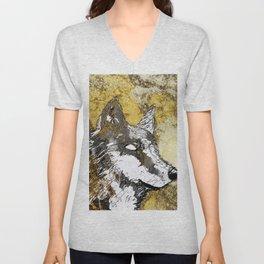 Gray Wolf Art Unisex V-Neck