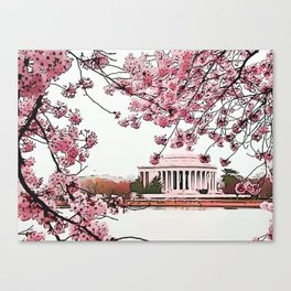Jefferson Memorial Amid Cherry Blossoms Canvas Print
