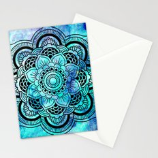 Galaxy Mandala Aqua Indigo Stationery Cards