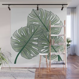 Large Monstera Leaf in Moss Green Wall Mural
