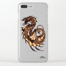 """Tsunami"" by Amber Marine ~ Sea Dragon (Amber Gem Version) ~ Graphite Illustration, (Copyright 2005) Clear iPhone Case"