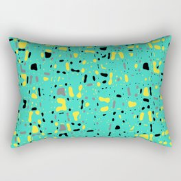 Turquoise blue, yellow and black spots, abstract galaxy texture print, color moving fragments Rectangular Pillow