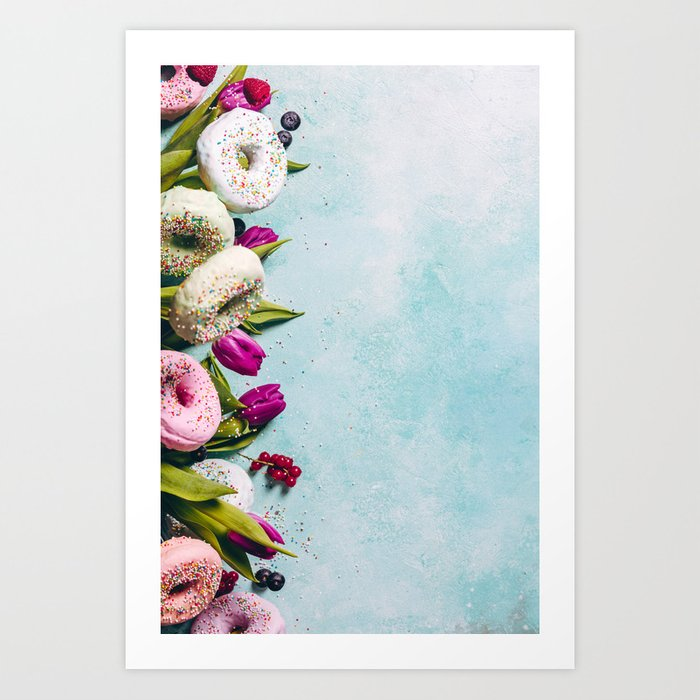 Sweet and colourful doughnuts with sprinkles, purple tulips and berries Art  Print
