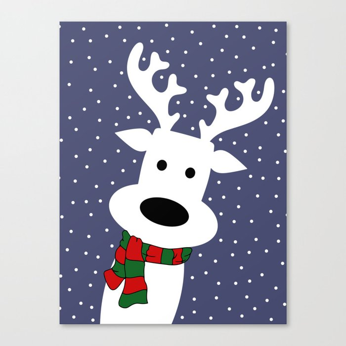 Reindeer in a snowy day (blue) Canvas Print