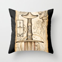 Sword of the Four Beasts Throw Pillow
