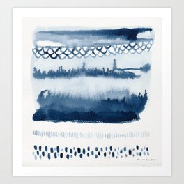 Beach Series Indigo Waves Watercolor Painting Art Print