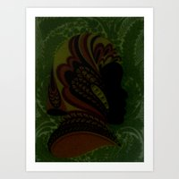 Shadow woman with multi-colored attire Art Print