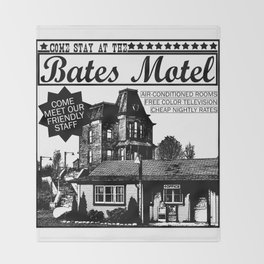 Bates Motel Advertisement - Black Type Throw Blanket