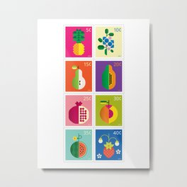 Fruit Stamps Metal Print