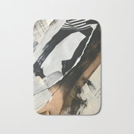 Stay | Collage Series 2 | mixed-media piece in gold, black and white + book pages Bath Mat