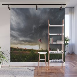 Stay Strong - Flowers Brace for Incoming Storm in Kansas Wall Mural
