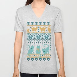Fair Isle Knitting Cats Love // teal white and yellow kitties Unisex V-Neck