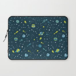 Meteor Showers in Blue + Green Laptop Sleeve