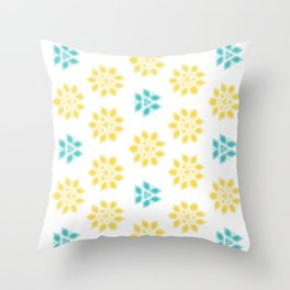 Spring Yellow Blue Flower Pattern Throw Pillow
