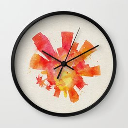 Los Angeles, California Colorful Skyround / Skyline Watercolor Painting Wall Clock